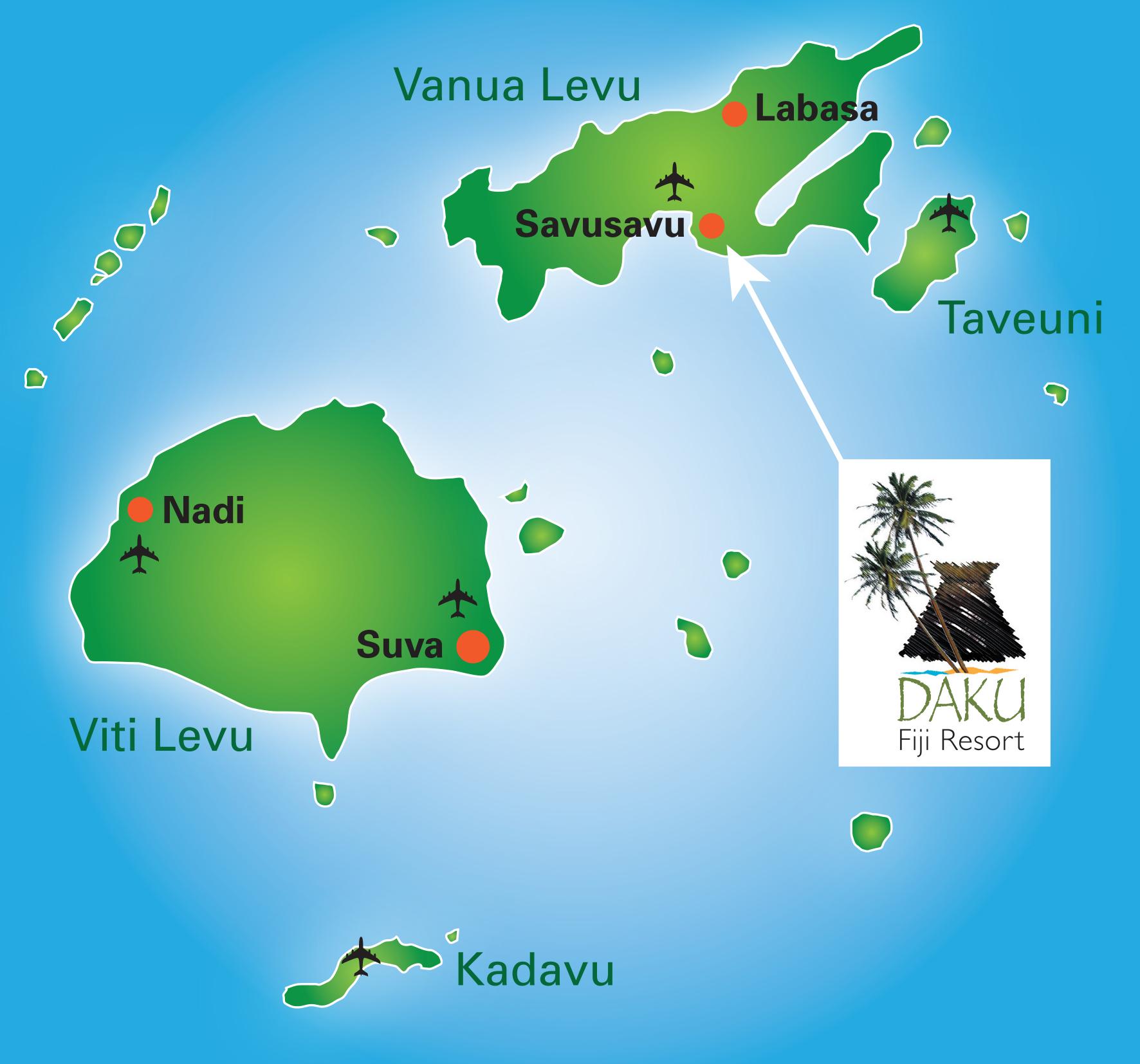 The map of the location of Daku Resort, in Savusavu Fiji.