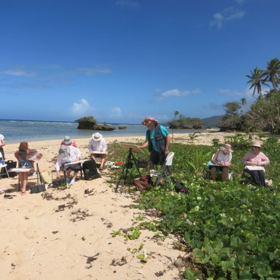 Students painting in nature with John Haycraft.