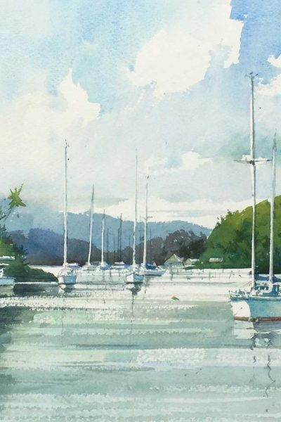 A painting of Savusavu harbour by John Haycraft.