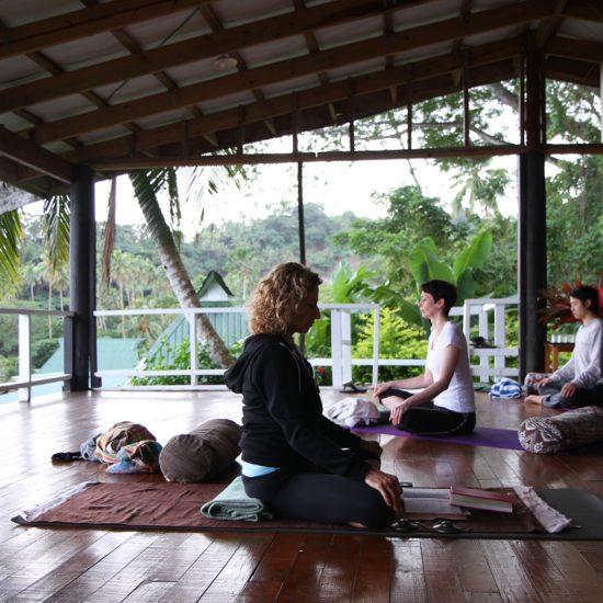 Yoga on the deck at Daku Resort, Savusavu.