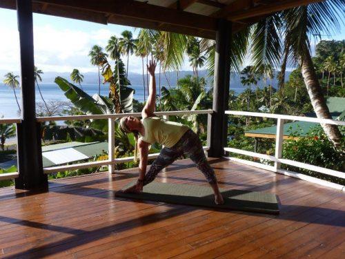 Gabrielle Boswell leads a yoga class on the deck at Daku Resort, Savusavu.