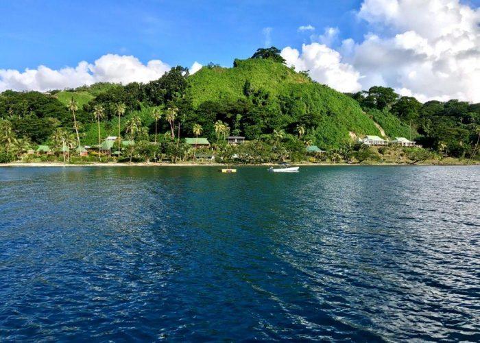 A panoramic view of Daku Resort, as viewed from Savusavu Bay.